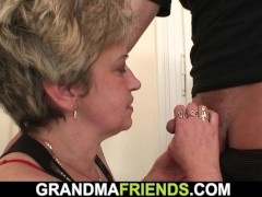 horny grandmother playing with hairy pussy before hot threeway