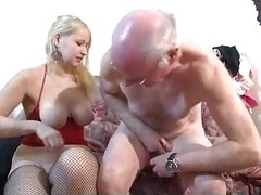 attractive blonde makes love old man