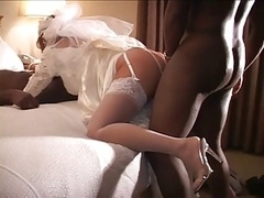 Cuckold wedding night with a pair of black cocks
