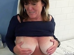 Large natural titties Eager mom behind the scenes