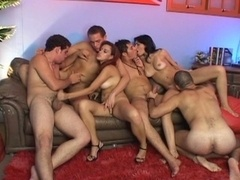 Hot sex group orgy with horny girls & hunks