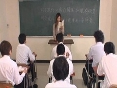 Sexy Japanese teacher team-fucked by students
