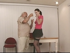 Sweet slut with dark hair and besides good breasts in garter belt gets spanked hard