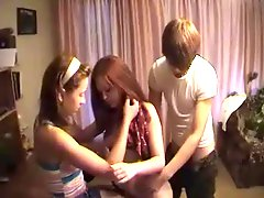 Russian teen anal 3some