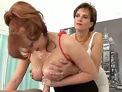 Hot ladies handjob and titjobs for him