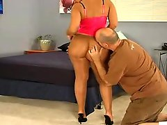 Kitten lets him bang her pantyhose