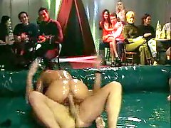Oiled up group sex in the wrestling pit