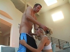 Slim blond cutie pie gets a soaked honey pot and also horny butt