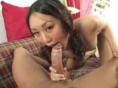 Purple rod is big in her Oriental mouth
