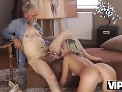 VIP4K. Pretty blonde with perfect body makes love to old dude