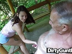 Babe plays with Dirty Gunther's Old Cock