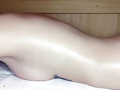 Tattoed Babe Fingering Pussy and Orgasm in Sauna