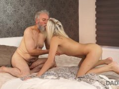 DADDY4K. Beautiful blonde girl receives ring, flowers, and old boner